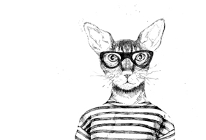 Illustration of cat wearing glasses and striped top