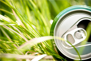 Empty can lying in grass