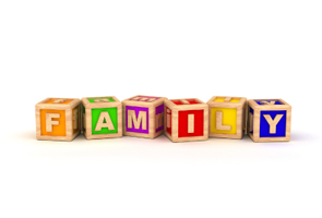 Word 'family' spelled out in alphabet blocks