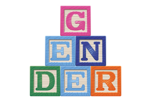 Word 'gender' spelled out in alphabet blocks