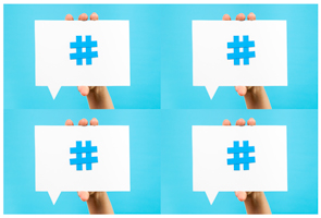 Multiple rectangular speech bubbles with hashtags