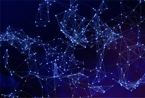 Network of light points on dark blue background