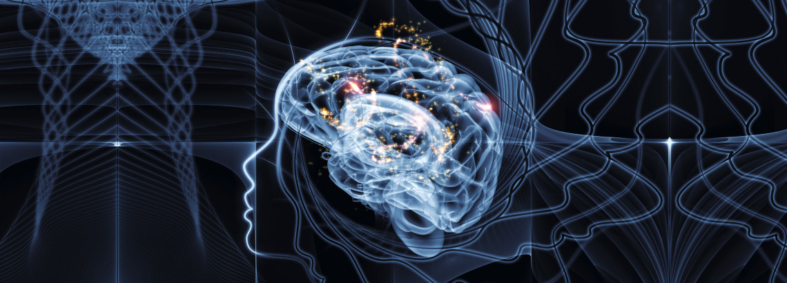 abstract illustration of brain using trails of light