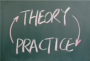 Theory and practice written on chalkboard