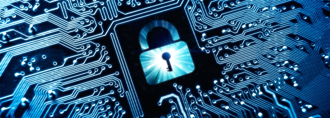 circuit board with image of padlock