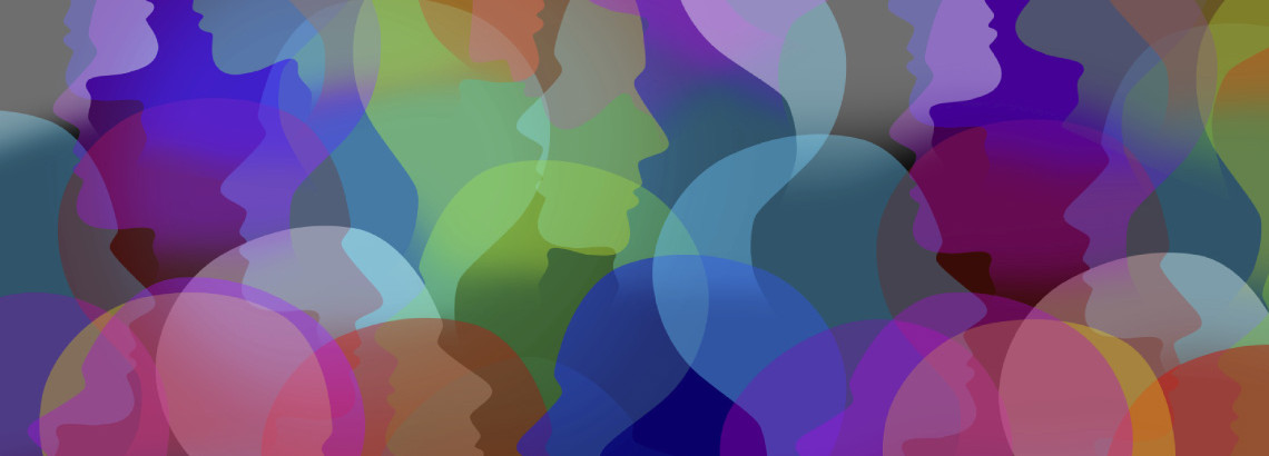 multicoloured translucent overlapping silhouettes of heads