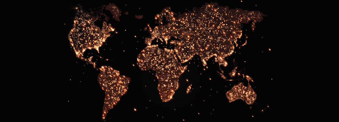 map of world in lights on dark background