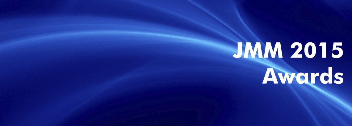 white text 'JMM 2015 Awards' on blue abstract background