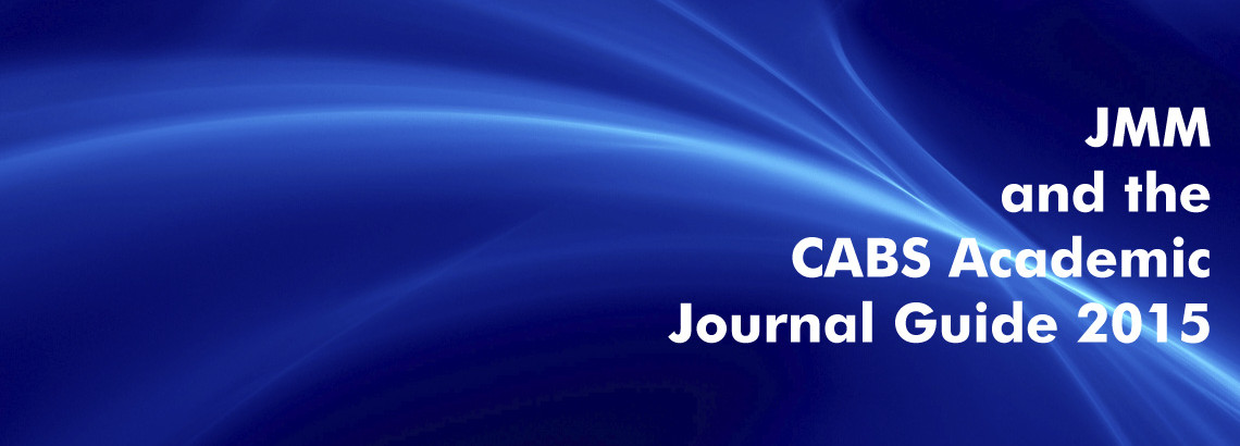 Text 'JMM and the CABS Academic Journal Guide 2015' on blue abstract background