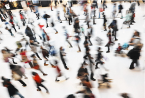 Blurred image of shoppers