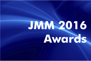 white text 'JMM 2016 Awards' on blue abstract background