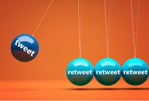 Image of a Newton's cradle against an orange background. The ball in motion has text saying 'tweet' and the balls stationary at the bottom of the cradle saying 'retweet'.