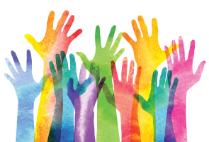 Illustration of many overlapping opaque multicoloured hands reaching upwards on a white background