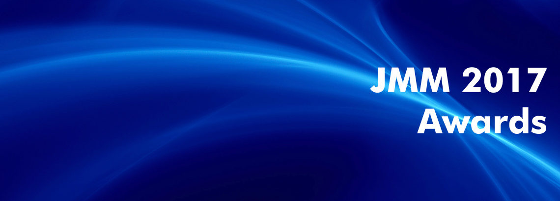 white text 'JMM 2017 Awards' on blue abstract background