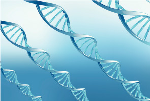 Graphical representation of DNA strands on a blue background
